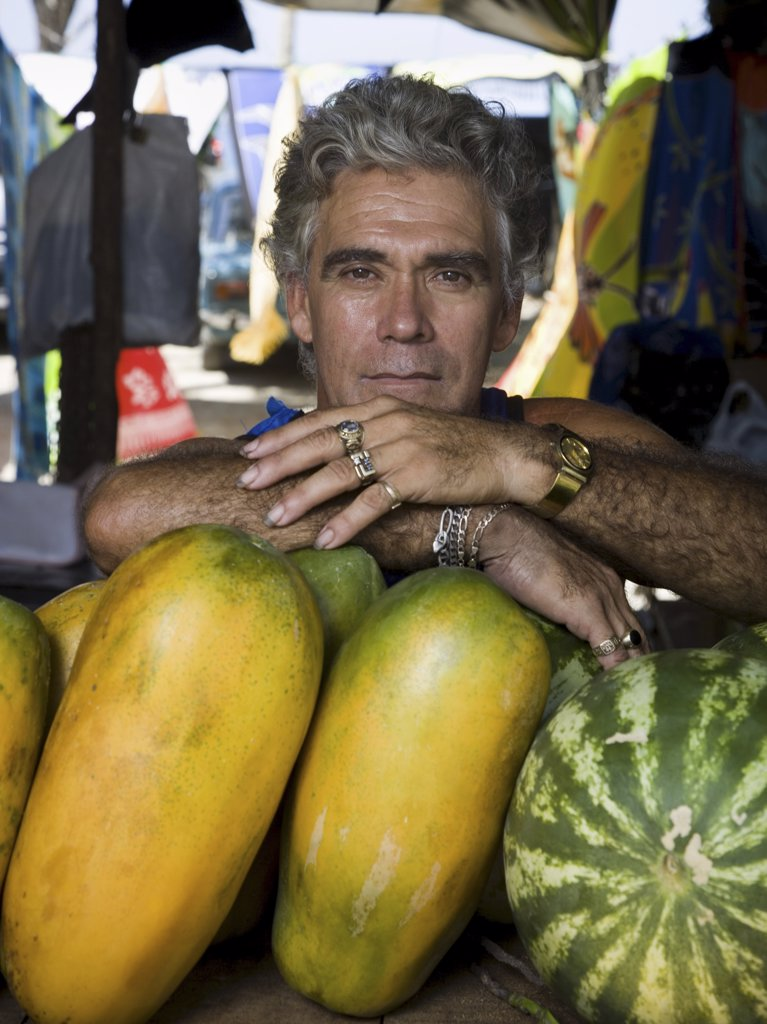 Portrait of a  man with fruit : Stock Photo