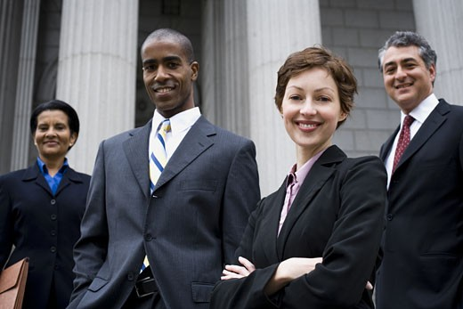 Stock Photo: 1660R-11887 Portrait of lawyers in front of a courthouse