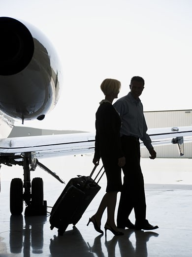 Stock Photo: 1660R-11911 Profile of a businesswoman and a businessman walking with suitcases by an airplane