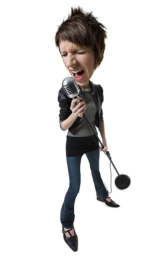 A caricature of a young woman singing into a microphone : Stock Photo