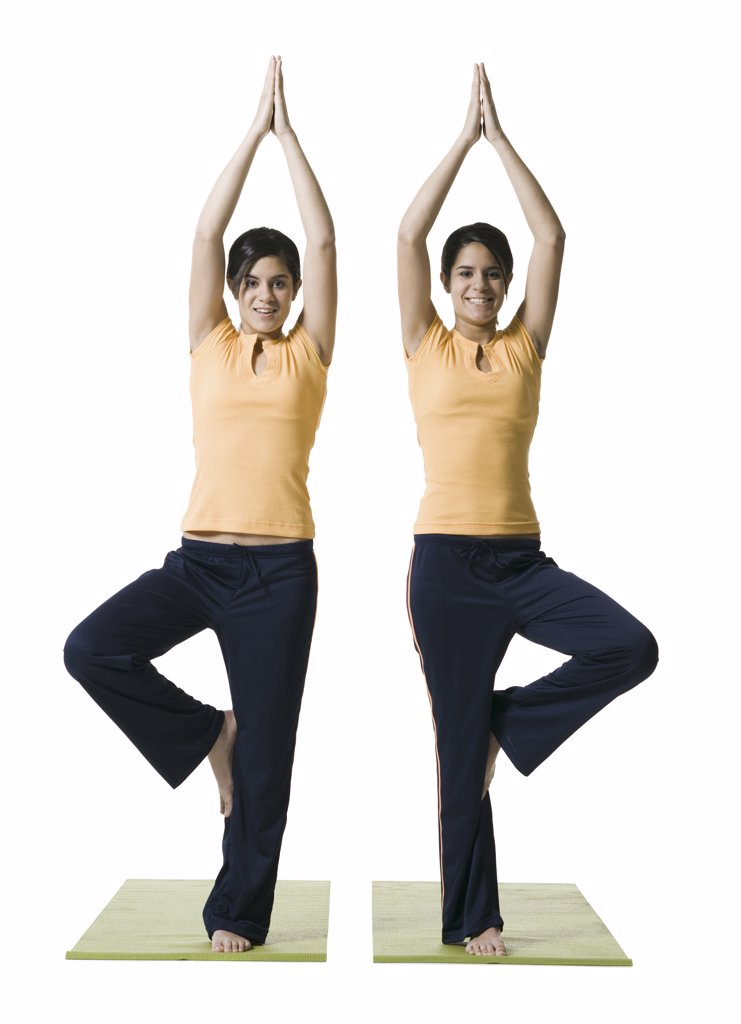 Portrait of two twin teenage girls in a tree pose : Stock Photo