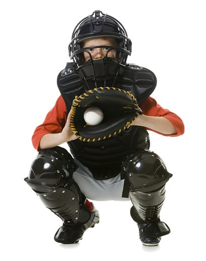 Stock Photo: 1660R-12126 Portrait of a baseball catcher