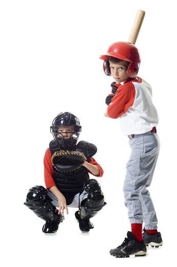 Stock Photo: 1660R-12132 Portrait of two baseball players playing