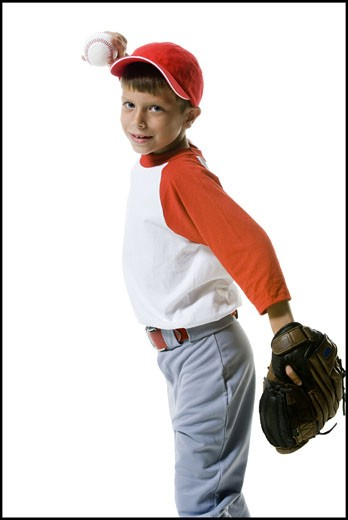 Stock Photo: 1660R-12139 Portrait of a baseball player throwing a baseball