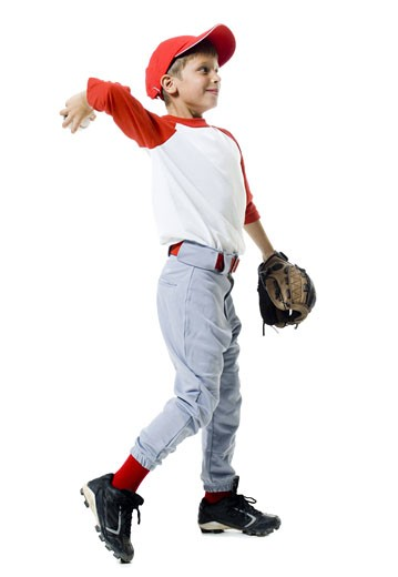 Stock Photo: 1660R-12145 Baseball player throwing a baseball