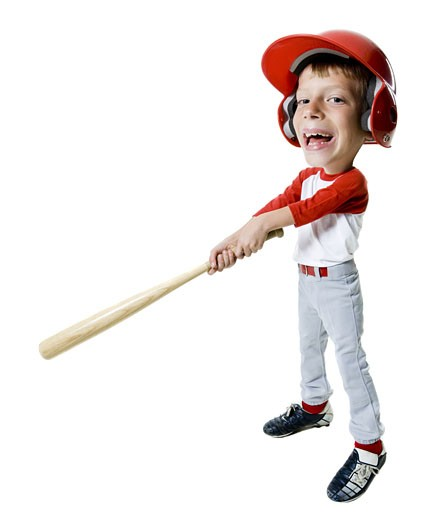 Portrait of a baseball player holding a baseball bat : Stock Photo