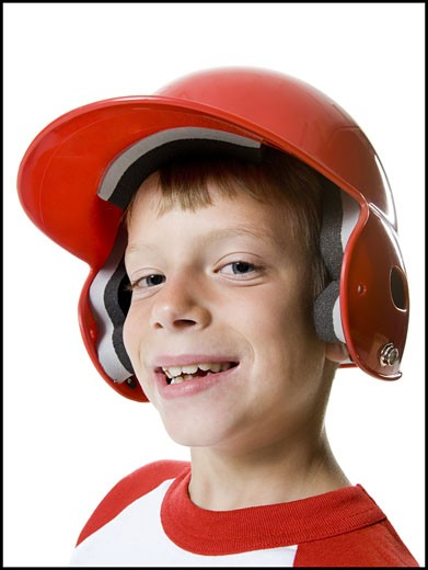 Stock Photo: 1660R-12150 Portrait of a baseball player wearing a baseball helmet