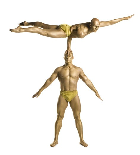 Stock Photo: 1660R-12172 Two male acrobats performing
