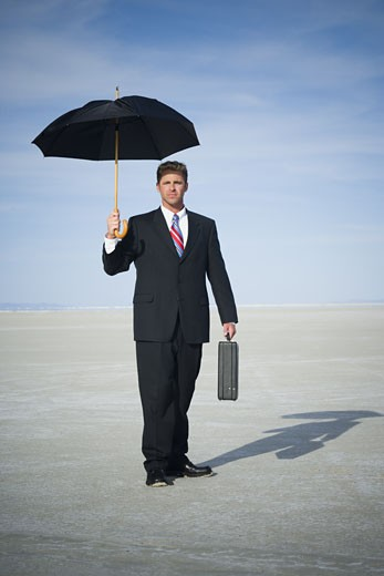Portrait of a businessman holding an umbrella : Stock Photo