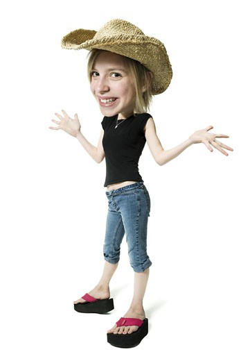 Stock Photo: 1660R-12519 Portrait of a girl wearing a cowboy hat