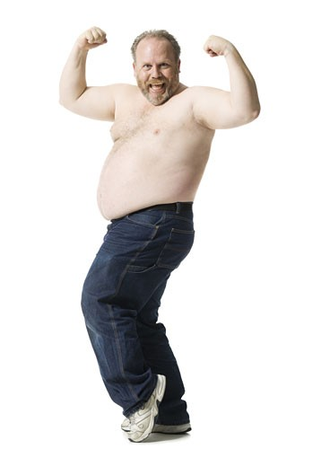 Stock Photo: 1660R-12539 Portrait of a mature man flexing his muscles