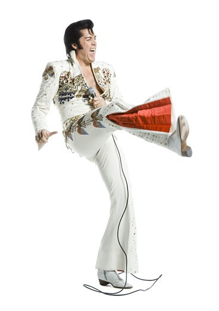 Stock Photo: 1660R-12842 An Elvis impersonator dancing