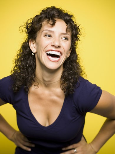 Stock Photo: 1660R-13174 A young woman laughing
