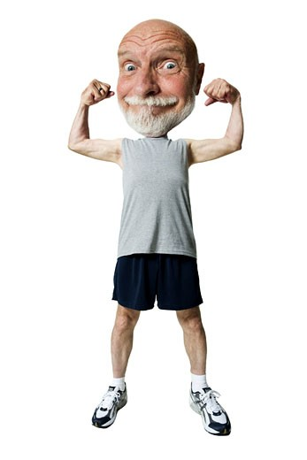 Caricature of a senior man flexing his muscles : Stock Photo