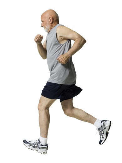 Stock Photo: 1660R-13479 Profile of a senior man jogging