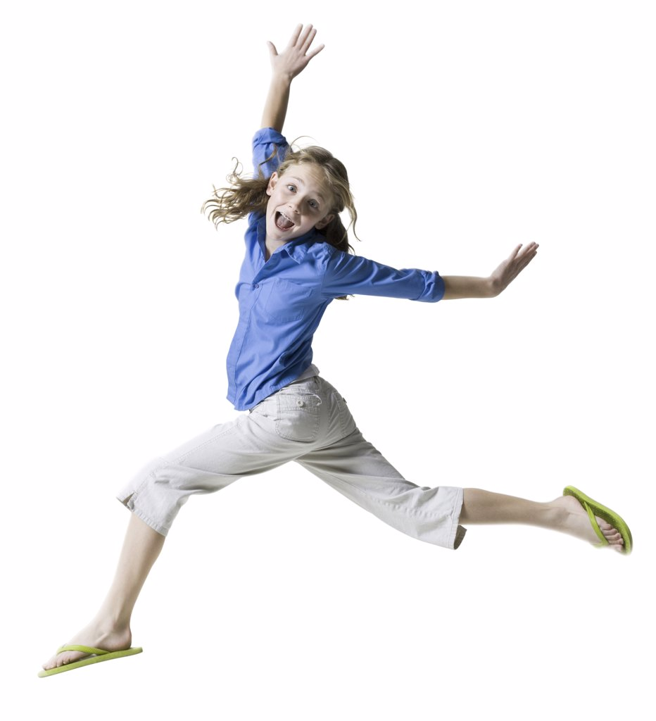 Stock Photo: 1660R-1353 Portrait of a girl running