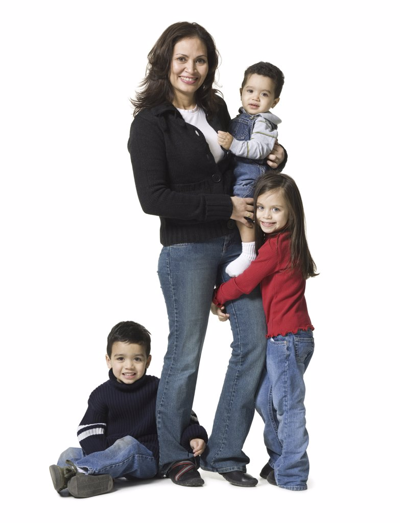 Stock Photo: 1660R-1355 Portrait of a mother and her three children