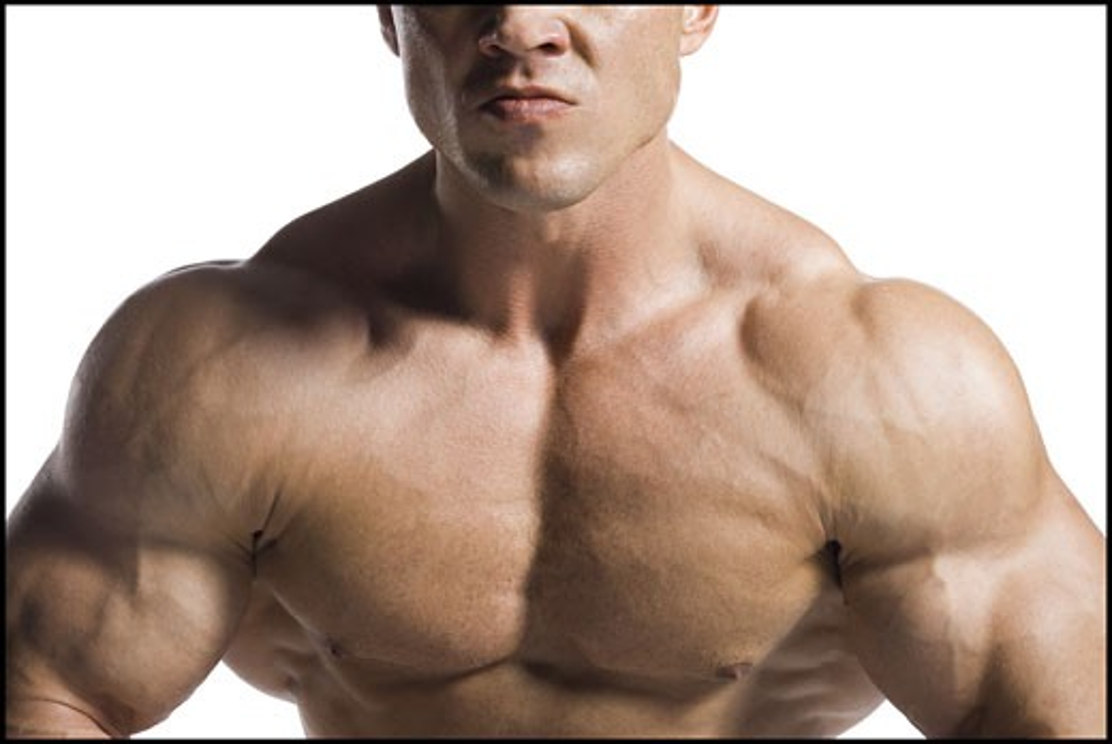 Male bodybuilder posing : Stock Photo