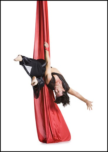 Stock Photo: 1660R-13992 Male circus gymnast tangled in red drapes