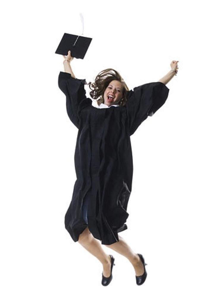Stock Photo: 1660R-14469 Female student celebrating graduation