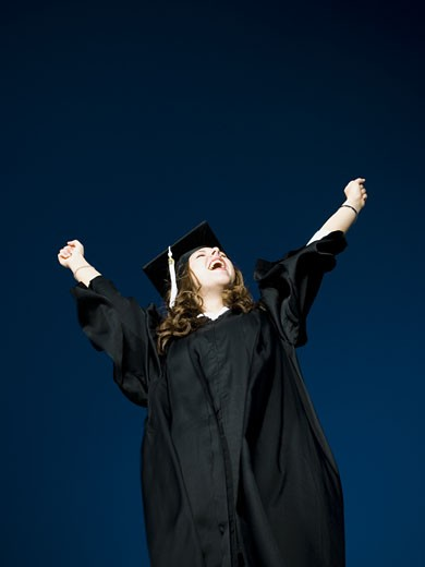 Stock Photo: 1660R-14471 Female student celebrating graduation
