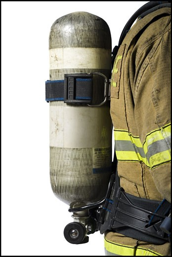 Stock Photo: 1660R-16338 Close-up of a firefighter's tank