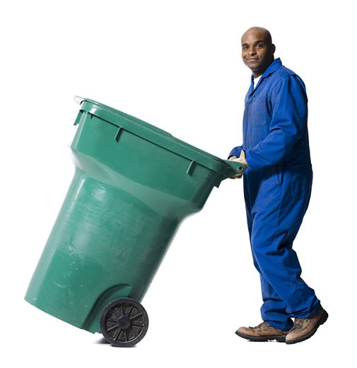 Stock Photo: 1660R-16458 Garbage man with recycling bin