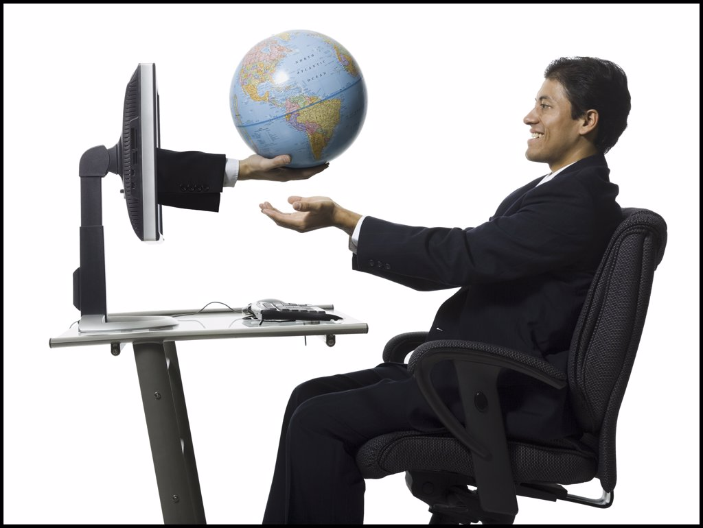 Stock Photo: 1660R-16513 Man receiving globe from hands in monitor