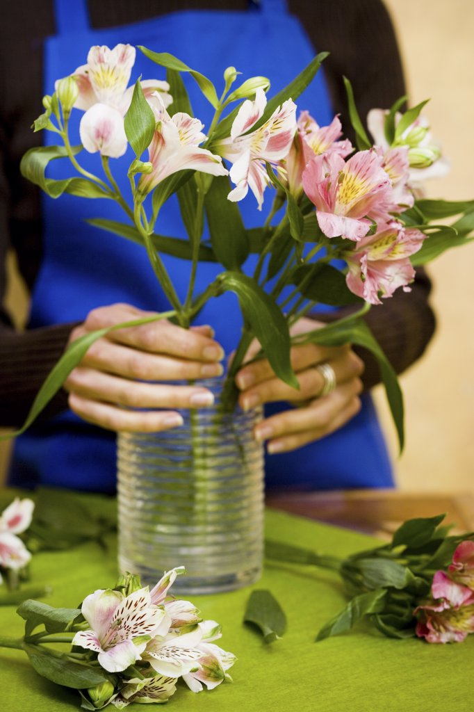 Stock Photo: 1660R-16818 Florist preparing floral arrangement