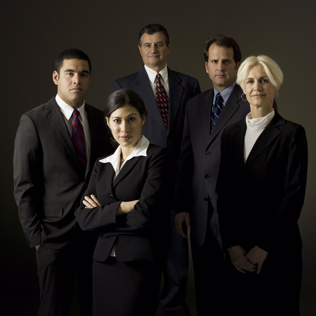 Stock Photo: 1660R-16850 Portrait of five businesspeople standing