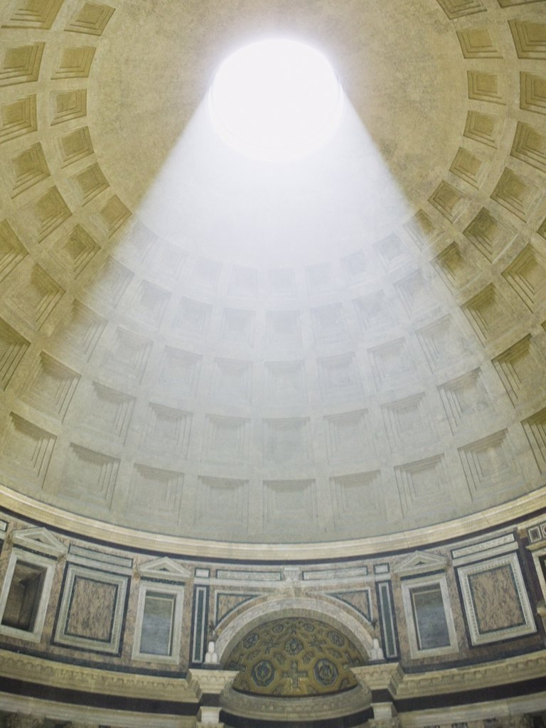 Stock Photo: 1660R-17149 Oculus and coffers inside Pantheon in Rome Italy