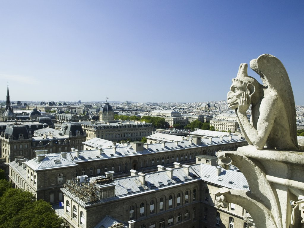 Gargoyle atop building : Stock Photo