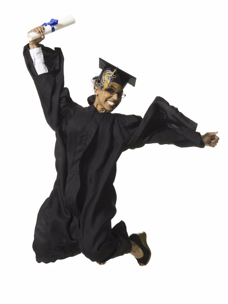 Woman in graduation gown and Blank Sign with diploma jumping : Stock Photo