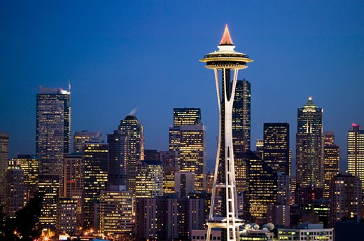 Space Needle in Seattle Washington USA at dusk : Stock Photo