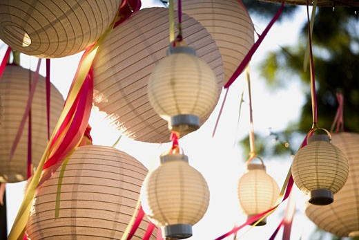 Paper lanterns and ribbons hanging outdoors : Stock Photo