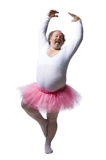 Stock Photo: 1660R-19066 Obese man in tutu dancing and smiling