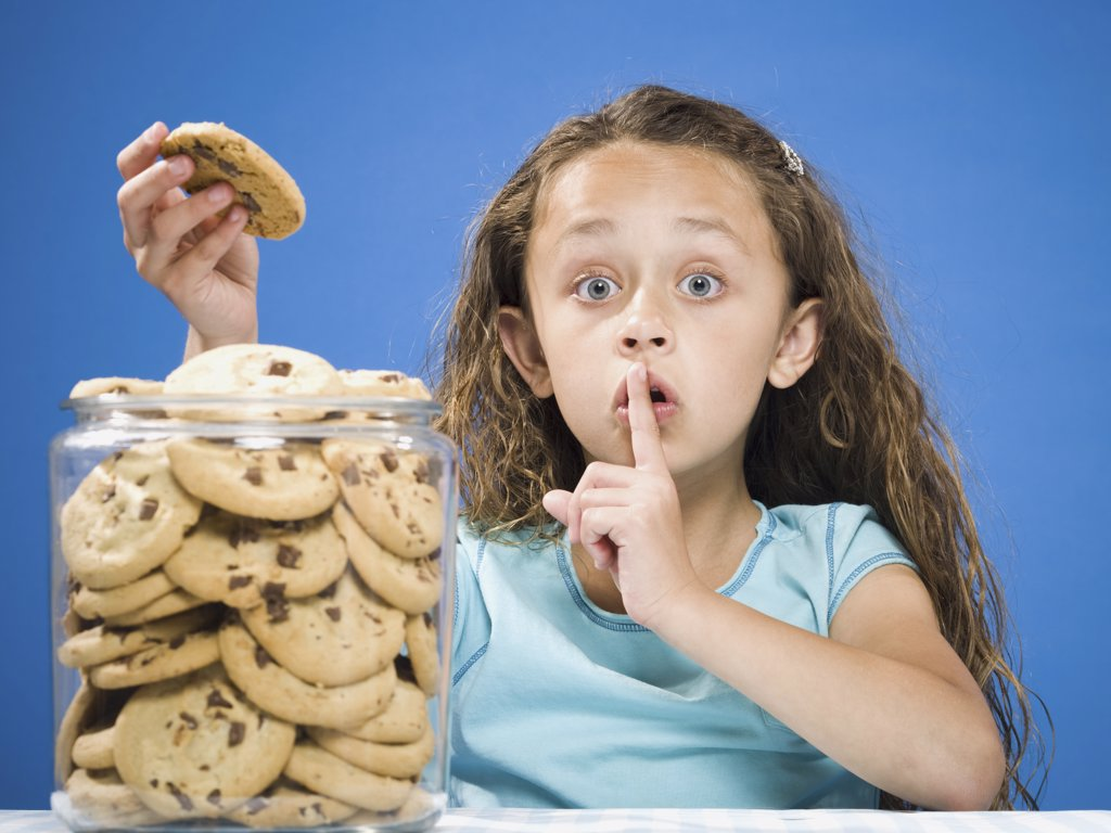Stock Photo: 1660R-19578 Girl taking chocolate chip cookie from jar and hushing