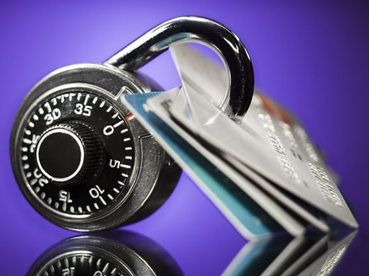 Stock Photo: 1660R-19717 Combination lock with four bank cards
