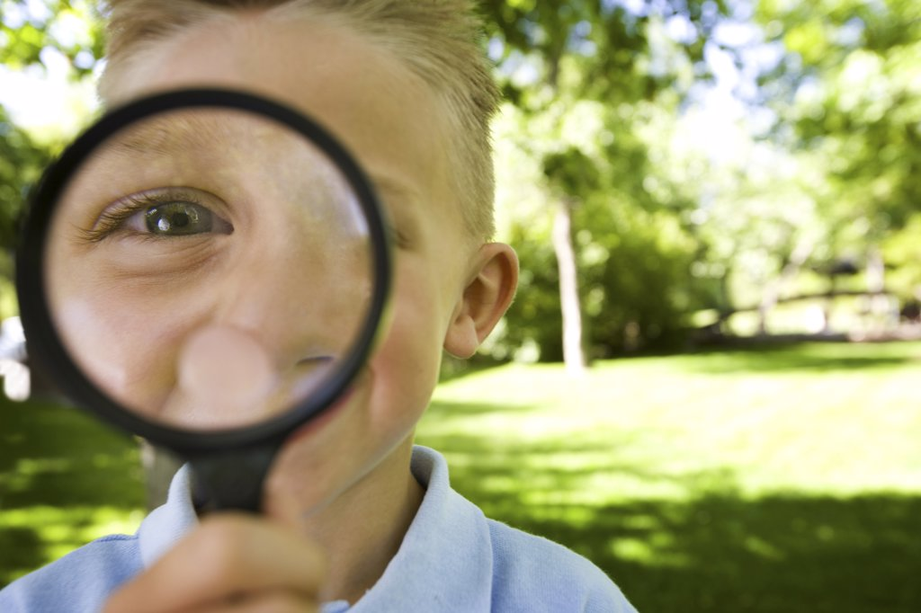 Stock Photo: 1660R-2192 Portrait of a boy looking through a magnifying glass