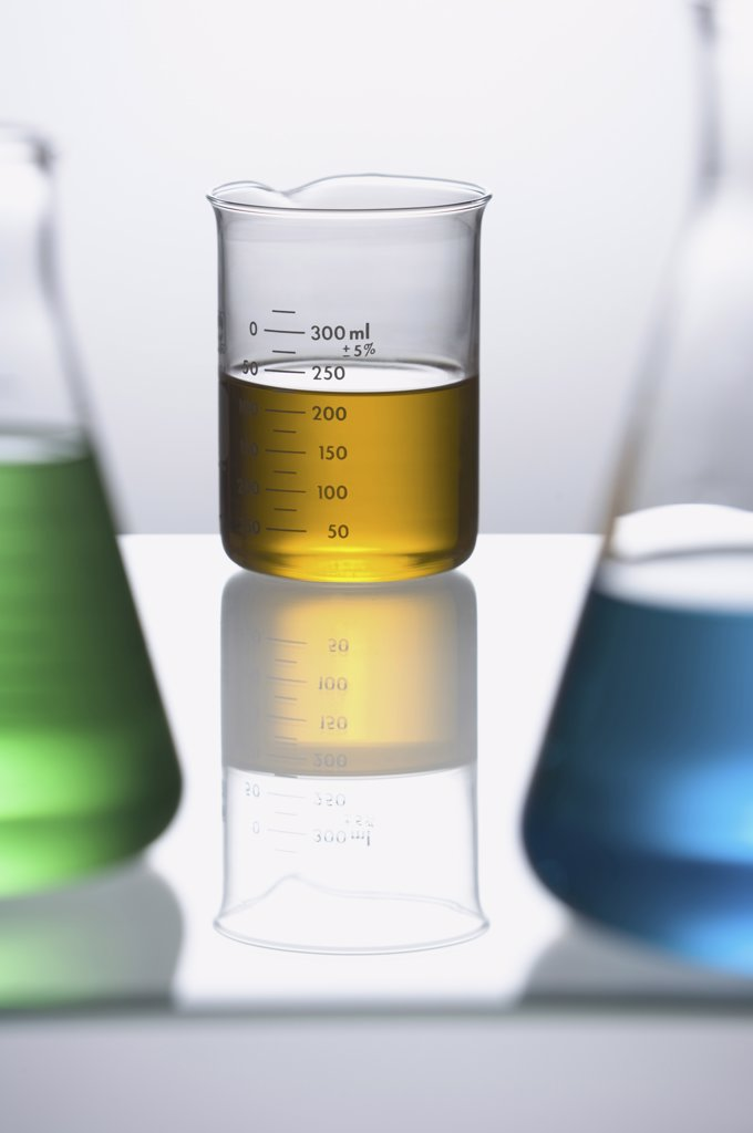 Stock Photo: 1660R-2360 Close-up of beakers with colored liquid