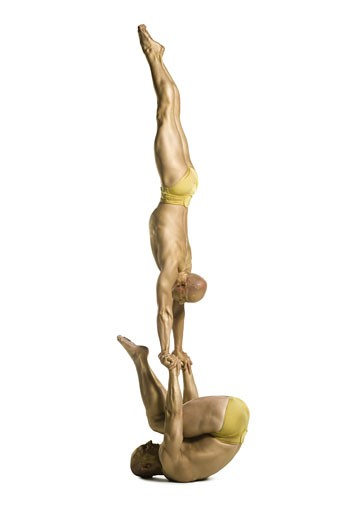 Stock Photo: 1660R-24618 Two male acrobats performing