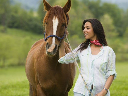 Stock Photo: 1660R-24739 Portrait of a woman standing with a horse