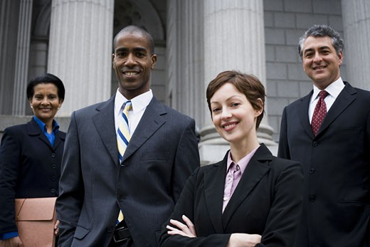 Stock Photo: 1660R-24780 Portrait of lawyers in front of a courthouse