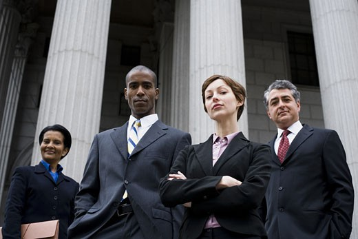 Stock Photo: 1660R-24782 Portrait of lawyers in front of a courthouse