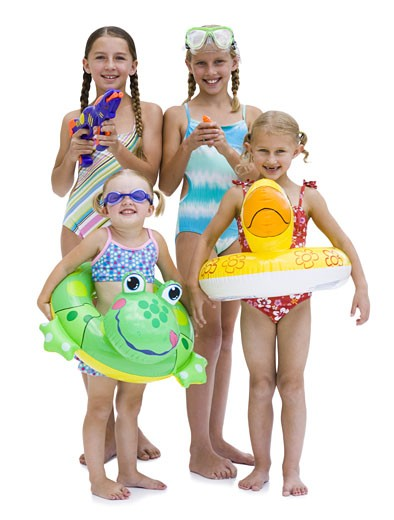 Stock Photo: 1660R-24945 Young sisters in swimsuits on vacation