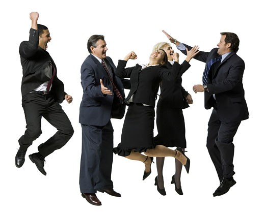 Five businesspeople leaping and smiling : Stock Photo