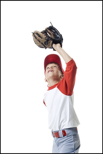 Stock Photo: 1660R-26699 Close-up of a baseball player catching a baseball