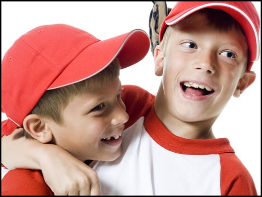 Stock Photo: 1660R-26700 Close-up of two baseball players smiling
