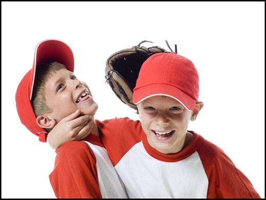 Stock Photo: 1660R-26701 Close-up of two baseball players smiling