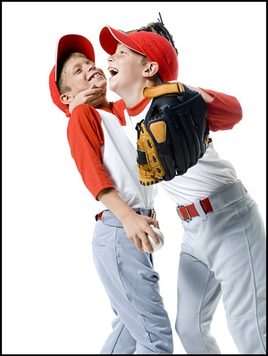 Stock Photo: 1660R-26704 Close-up of two baseball players smiling